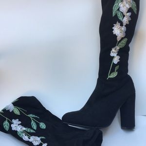 Shoes - New Blk Faux Suede Thigh High Boots w/White Roses!